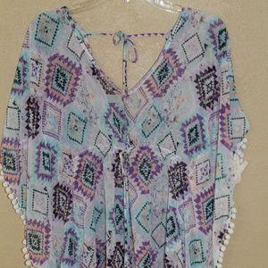 a99386ef21498 Miken Swim - Miken Tribal Print Pom Pom Swim Cover Up Dress